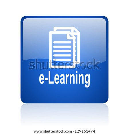 e-learning blue square glossy web icon on white background - stock photo