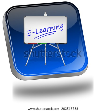 E-Learning Button - stock photo