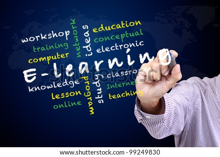 E-learning concept and other related words. written on white board - stock photo