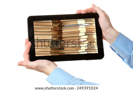 E-learning concept.  Digital library - books inside computer, isolated on white - stock photo