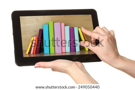 E-learning concept.  Digital library - books inside tablet isolated on white - stock photo