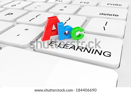 E-Learning concept. Extreme closeup ABC sign on a keyboard - stock photo