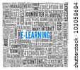 E-learning concept in word tag cloud on white - stock vector