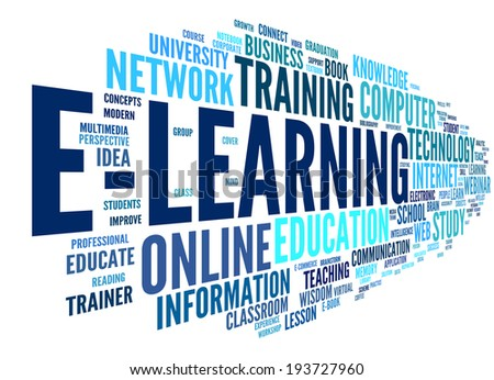 E-learning concept in word tag cloud on white - stock photo