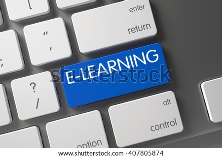 E-learning Concept: Metallic Keyboard with E-learning, Selected Focus on Blue Enter Keypad. Aluminum Keyboard with Hot Key for E-learning. 3D Illustration. - stock photo