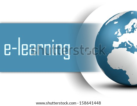 E-learning concept with globe on white background - stock photo