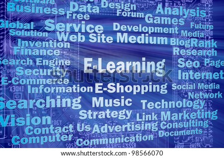 E-learning concept with other internet related words - stock photo