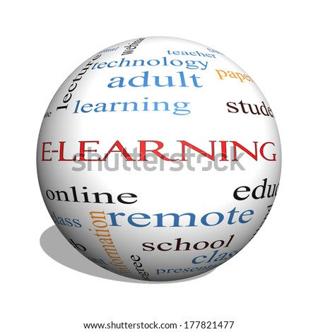E-Learning 3D sphere Word Cloud Concept with great terms such as classes, online, eductiona and more.