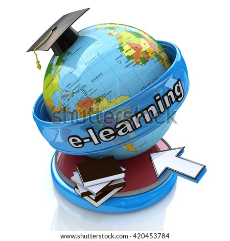 E-learning education. Conceptual image in the design of the information associated with the training and the Internet. 3d illustration - stock photo