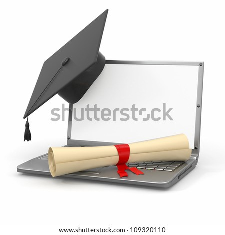 E-learning graduation. Laptop, diploma and mortar board. 3d - stock photo