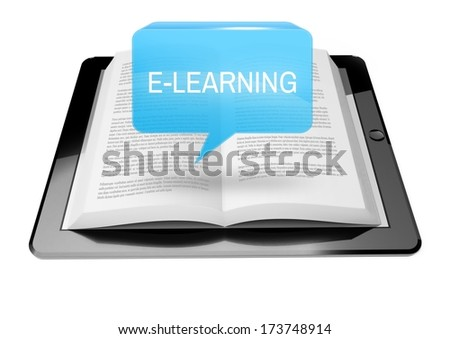 E-learning icon button above ebook reader tablet with text