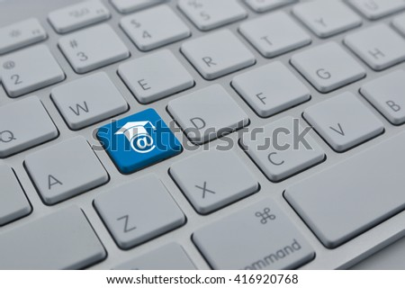E-learning icon on modern computer keyboard button, Study online concept