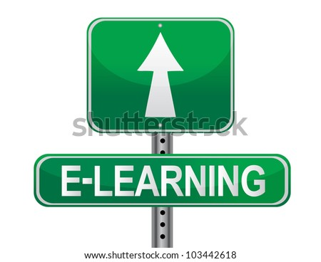 E-learning illustrated sign over a white background - stock photo