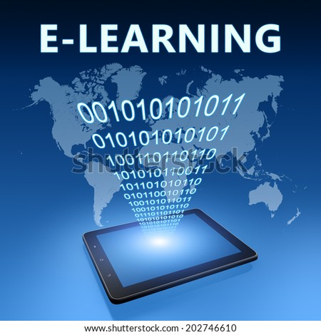 E-learning illustration with tablet computer on blue background - stock photo