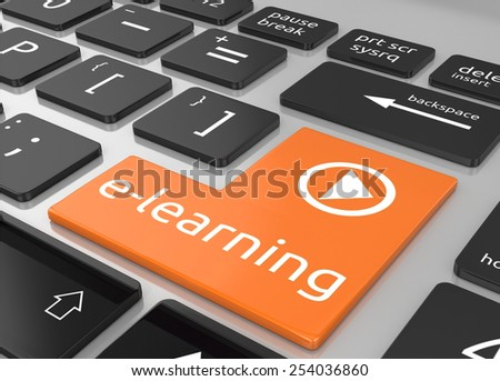 E-Learning on keyboard enter key, E-learning concept - stock photo
