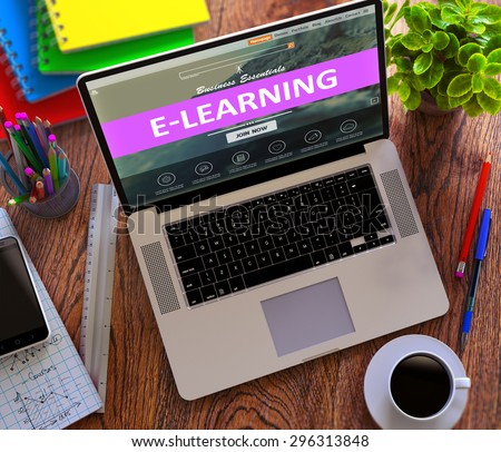 E-Learning on Laptop Screen. Online Working Concept. - stock photo