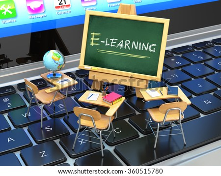 E-learning, online education concept. Blackboard and school desks on laptop keyboard. 3d - stock photo
