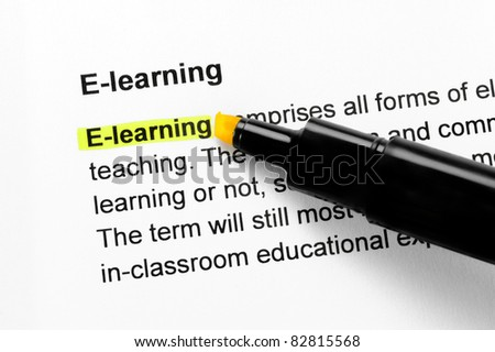 E-learning text highlighted in yellow, under the same heading