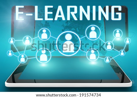 E-learning - text illustration with social icons and tablet computer and mobile cellphones on cyan digital world map background - stock photo