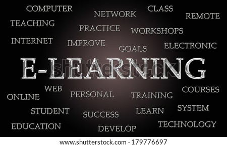 E-Learning word cloud written in luxurious chrome letters