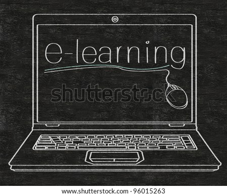 e learning written on computer screen on blackboard