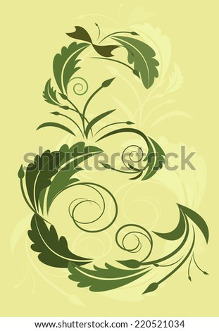 E letter in floral style isolated on yellow background.