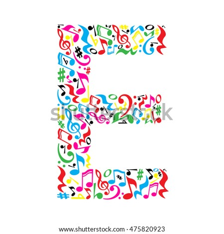 e letter made colorful musical notes stock illustration 475820923