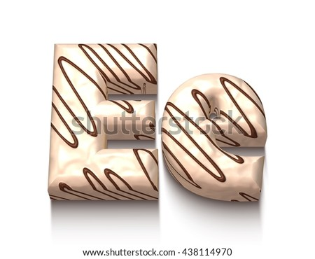 E letter of white chocolate with brown cream in 3d rendered on white background. - stock photo