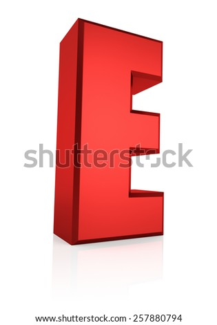 E letter. Red letter on reflective floor. White background. 3d render - stock photo