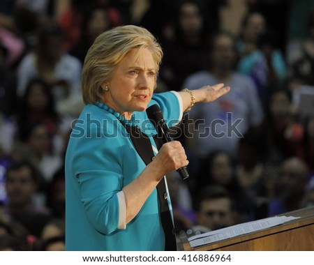 E LOS ANGELES COLLEGE, MONTEREY PARK, CA - MAY 5, 2016 - Cinco de Mayo, Secretary State Hillary Clinton Addresses Mostly Latino Presidential Rally - stock photo
