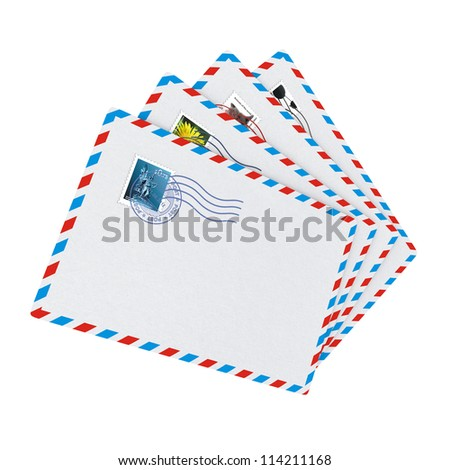 E-mail and Internet Messaging Concept. Some Post Envelopes on White Background. - stock photo