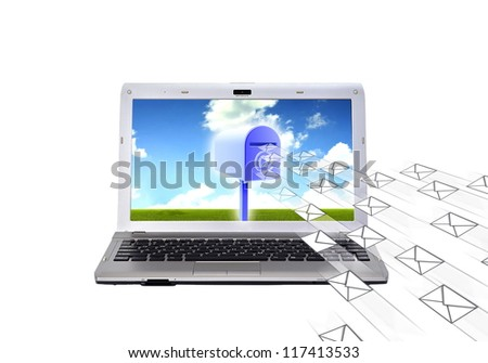 E-mail box. Conceptual image about electronic mail. How a computer (laptop) receive and sending email with mailbox. Isolated in white