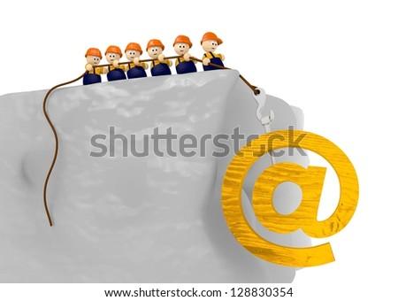 e-mail builder construct comic 3d illustration - stock photo