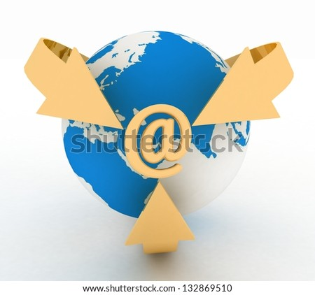 E-Mail Concept with Globe and Arrows. 3d render illustration - stock photo