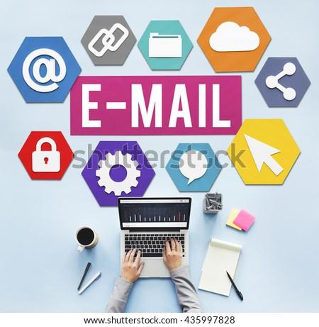 E-mail Correspondence Communication Digital Online Concept - stock photo