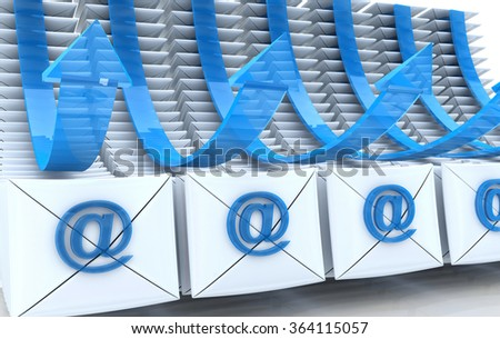 E-mail envelopes and arrows background in the design of the information related to the internet