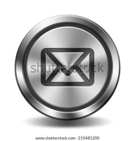 E-mail icon. Circular button with metal texture.