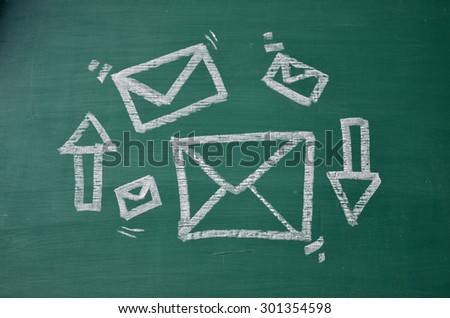 e-mail logo and arrow - stock photo