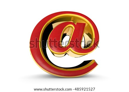 E-mail red&gold symbol. Isolated over white. Available in high-resolution and several sizes to fit the needs of your project. 3D illustration rendering.