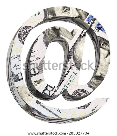 E-mail sign from dollar bill alphabet set isolated over white. Computer generated 3D photo rendering. - stock photo