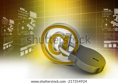e-mail sign with padlock - stock photo