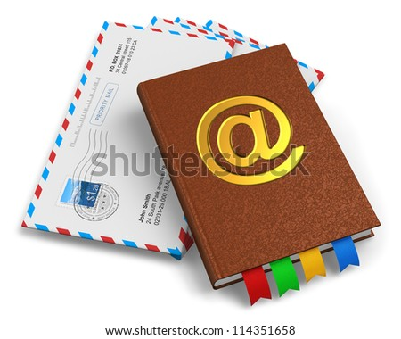 "E-mail, snail mail, post service and correspondence concept: leather address book with golden ""at"" symbol and stack of letter envelopes isolated on white background"