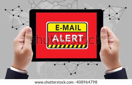 E-mails Hacked Warning Digital Browsing Concept on the tablet pc screen by businessman hands, top view - stock photo