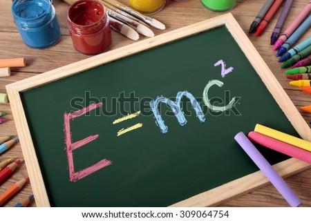 E=MC2  Einstein's famous formula written on blackboard - stock photo