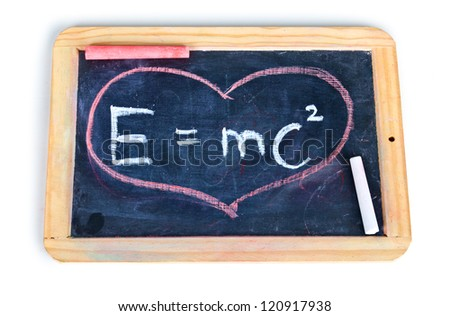 E=mc2. Theory of relativity, writings on blackboard. - stock photo