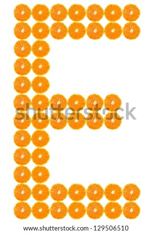 E one of 26 in English alphabet, made of fresh colorful orange fruit. - stock photo