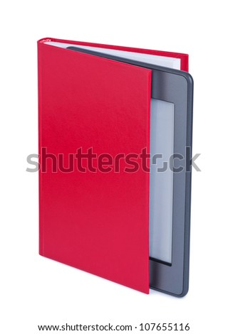 E-reader in book isolated on white background.