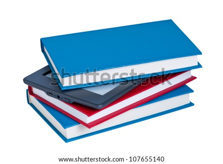 E-reader in stack of books isolated on white background.