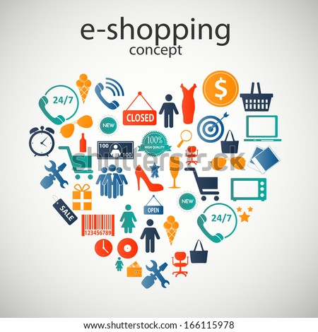 e-shopping concept  icons  illustration - stock photo