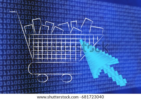 e-shopping concept: oversize mouse pointer on shopping cart full of products